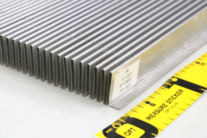 コルゲート加工最大高さ38mmまで加工可能